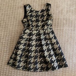 Gold & Black Houndstooth Pleated Cocktail Dress